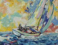 Art Original Oil Painting by RM Mortensen Seascape Sail Boats Impressionism