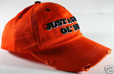 GOOD OL' BOY ORANGE HUNTING CAP DISTRESSED LOOK COTTON REDNECK HUNTER HILLBILLY