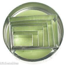 Fox Run Rectangular Cookie Cutter Set of 6 w/ Storage Tin -Rectangle Biscuit
