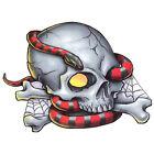 Bullseye Realistic Temporary Tattoo, Skull  Snake, Made in USA, Big Tattoos