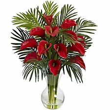 Nearly Natural 1301-RD Calla Lily & Areca Palm Silk Flower Arrangement NEW