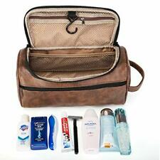 Mens Leather Toiletry Bag Large Shaving Hygiene Travel Organizer Case Waterproof