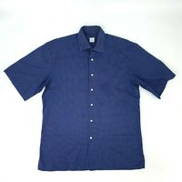 Peter Millar Button Up Shirt Mens Size M Blue Short Sleeve Polka Dot 100% Cotton