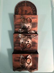 VTG 1976 Hong Kong Enesco Owl Metal Wall Hanging Mail Organizer Nobody's Perfect