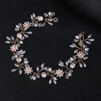 Strass Perlen Blume Hochzeit Stirnband Braut Haarschmuck Party 30cm