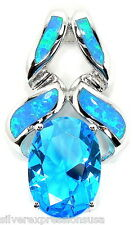 Blue Topaz & Blue Fire Opal Inlay 925 Sterling Silver Pendant For Necklace