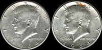 $1.00 Face Value: Two(2) 'Junk' 1964 Kennedy Half Dollars 90% SILVER US Coins