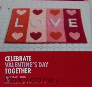 Valentine's Day Red & Pink Heart Love Bathroom Bath Kitchen Rug 20x30 NWT