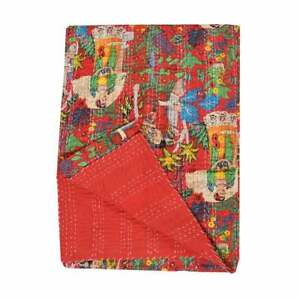 Exclusive Frida Khalo Kantha Quilts Bohemian Floral Printed Reversible Bedcover