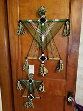 Pair of Vintage Eye Of God Thunderbird Fiber Art Spiritual Yarn Wall Hangings