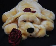 """Big Tan Brown Puppy Dog Black Nose Rose Bow Plush 2005 Kids of America 18"""" Toy"""