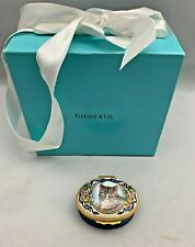 "Halcyon Days Enamels Designed By Tiffany & Co. Cat Treasure Trinket Box 1"" Tall"