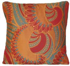 "Red Gold Blue Grey Cushion Cover Osborne & Little Woven Fabric Pachanga Silk 16"""