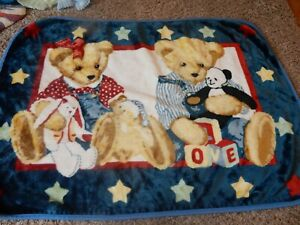 5C LN 30x45 BLUE JEAN TEDDY Bears Plush Minky Acrylic Crib Baby Blanket