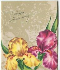 VINTAGE PURPLE YELLOW IRIS FLOWER FLEUR DE LIS SHADOW OAK TREE GREETING CARD