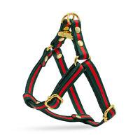 Designer Dog Harness gucci Green Red Stripe step in Leash Lead Small luxury