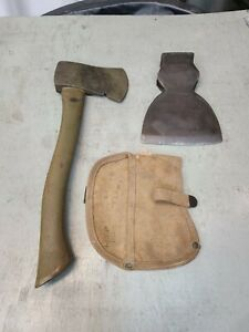 MILITARY HATCHET AXE TOOL MARKED U.S. Canvas Sheath Marked H&P 1917. HEWING AXE