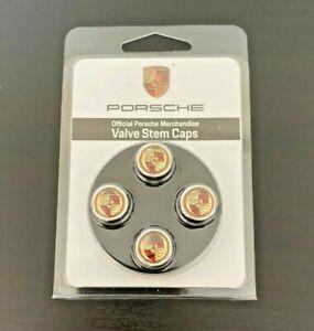 Genuine Porsche Tequipment Tire Valve Stem Cap Set Colored Crest Wheel
