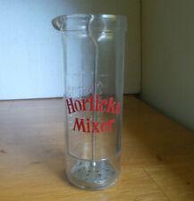 HORLICKS MIXER VINTAGE GLASS JAR WITH ORIGINAL METAL PLUNGER 8 OZ