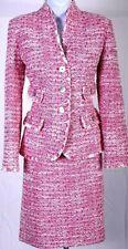 ST.JOHN Women Knit Fringed Pink White Boucle Tweed Jacket & Skirt Sz 10