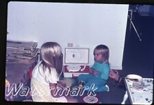 1972  35mm Photo slide  girls playing with Red Raven Movie Records player B