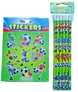 6 /12 FOOTBALL PENCILS & STICKERS BOYS KIDS CHILDRENS PARTY BAG FILLERS