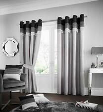 La Moda Ready Made Eyelet Top Fully Lined Curtains with Tie Backs / Door Panels