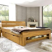 Futonbett Sofie Bett Kernbuche massiv geölt inkl. Bettkasten und Regal 180x200