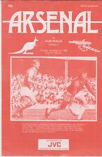 Programme / Programma Arsenal v Australia 27-11-1984 friendly