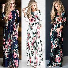 Femmes imprimé floral manches longues Boho femmes soirée longue robes maxi 34-46