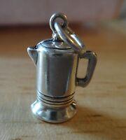 Sterling Silver 3D 19x13x10mm 5 gram Heavy Coffee Pot Charm