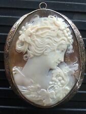Large Fine Antique Shell Cameo Pendant of Flora in Ornate Frame -Gorgeous!