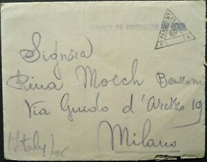 ITALIAN WWII PRISONER OF WAR IN INDIA SEP 1941 CENSORED COVER + LETTER TO MILAN