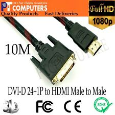 10M Premium DVI-D 24+1p to HDMI Cable Male to Male Gold-Plated for PC TV Monitor