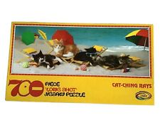 Cats Kittens CAT-CHING RAYS Beach Ocean 700 Pieces Jigsaw Puzzle 34 X 12 USA EUC