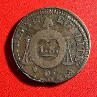 #1588 - RARE - Louis XVI 1 Sol aux balances 1793 D. Lyon - FACTURE