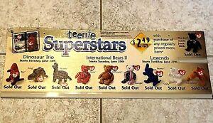 "McDonald's Teenie Superstars BEANIE BABIES Happy Meal TY Sign 8"" x 22"" Poster"