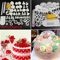 46pcs Cake Decorating Tools Kit Fondant Cake Plunger Cutters Tools Mold Moulds