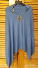 Womens NWT One Size Plus Bradley Bayou Embellished Blue Poncho Sweater Blue QVC
