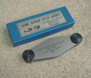 ACME Vintage FUJI TOOL Screw Pitch Gage No. 29-730 29 Deg 1N-12N Machinist JAPAN