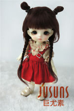 Jusuns 5-6inch Mohair Doll Wig 1/8 BJD Hair with Twin Cute Braids JD545