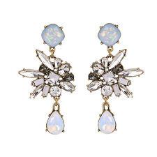 Boucles d`Oreilles Clous Doré Chandelier Opale Gris Baroque Retro Mariage XX19