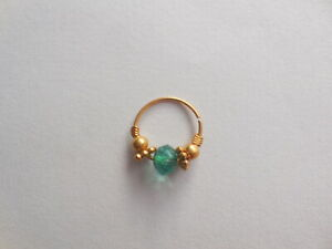 Gold Plated Faceted Beaded Indian Nose ring Bali Jewellry Hoop Piercing Fashion