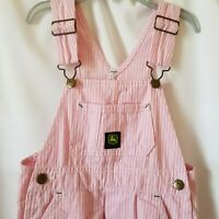 John Deere Toddler Girls Size 3T Pink White Striped Bib Overalls Tractor Pant