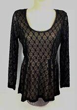 Catherine Malandrino Size S Peplum Babydoll Black Lace Long Sleeve Top NWT A6-10