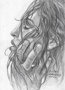 original drawing A5 29SP Modern Art samovar Graphite female portrait