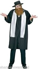 Mens Jewish Rabbi + Beard Religious Vicars and Tarts Fancy Dress Costume Outfit