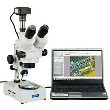 Omax 3.5X-45X Usb3 14Mp Trinocular Zoom Stereo Microscope+Dual Light Desk Stand