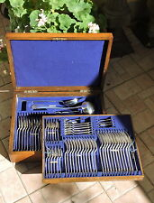 Queen Anne Silver Plated Cutlery Complete Canteen Oak Case 12 Persons c1900