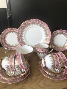Vintage Bell Fine Bone China Tea Set For 4 Pink White Gold Milk Sugar Cake Plate